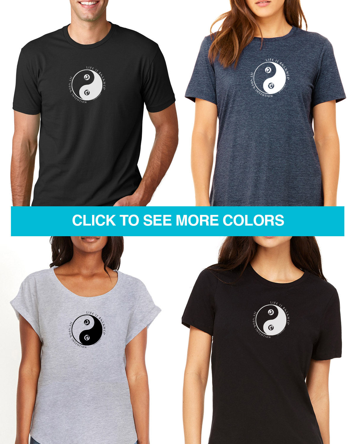 Inspirational short sleeve yoga t-shirts in both women's and men's styles