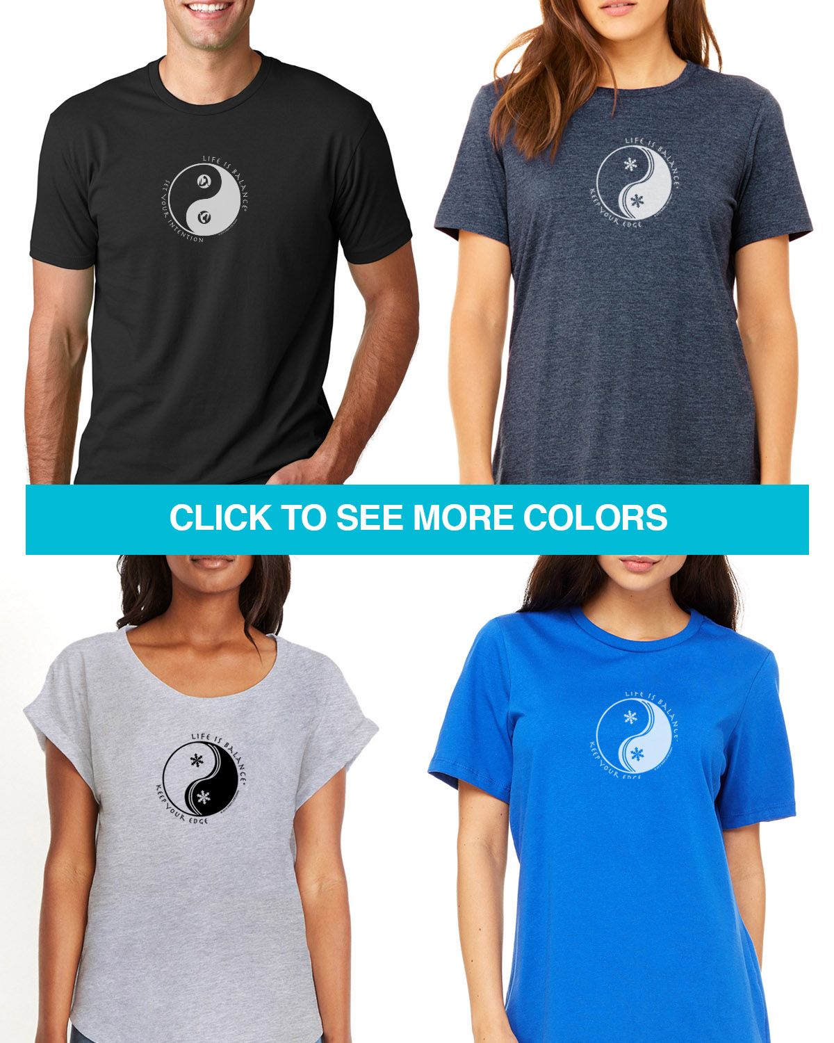 Women's & Men's short sleeve ski or snowboarding t-shirt