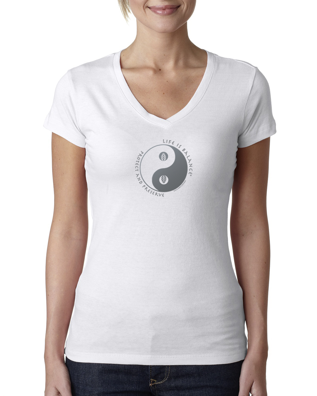Women's v-neck environment t-shirt (white)