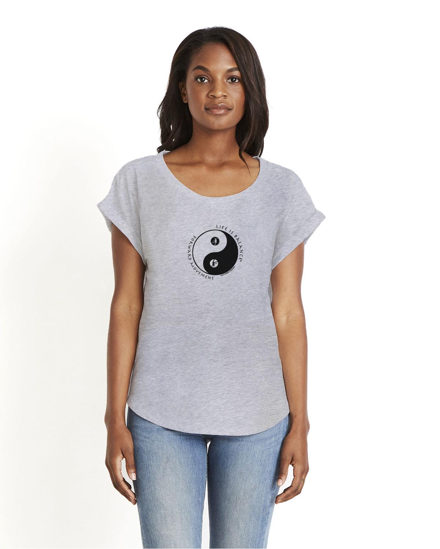 Women's short sleeve dolman dance t-shirt (gray)