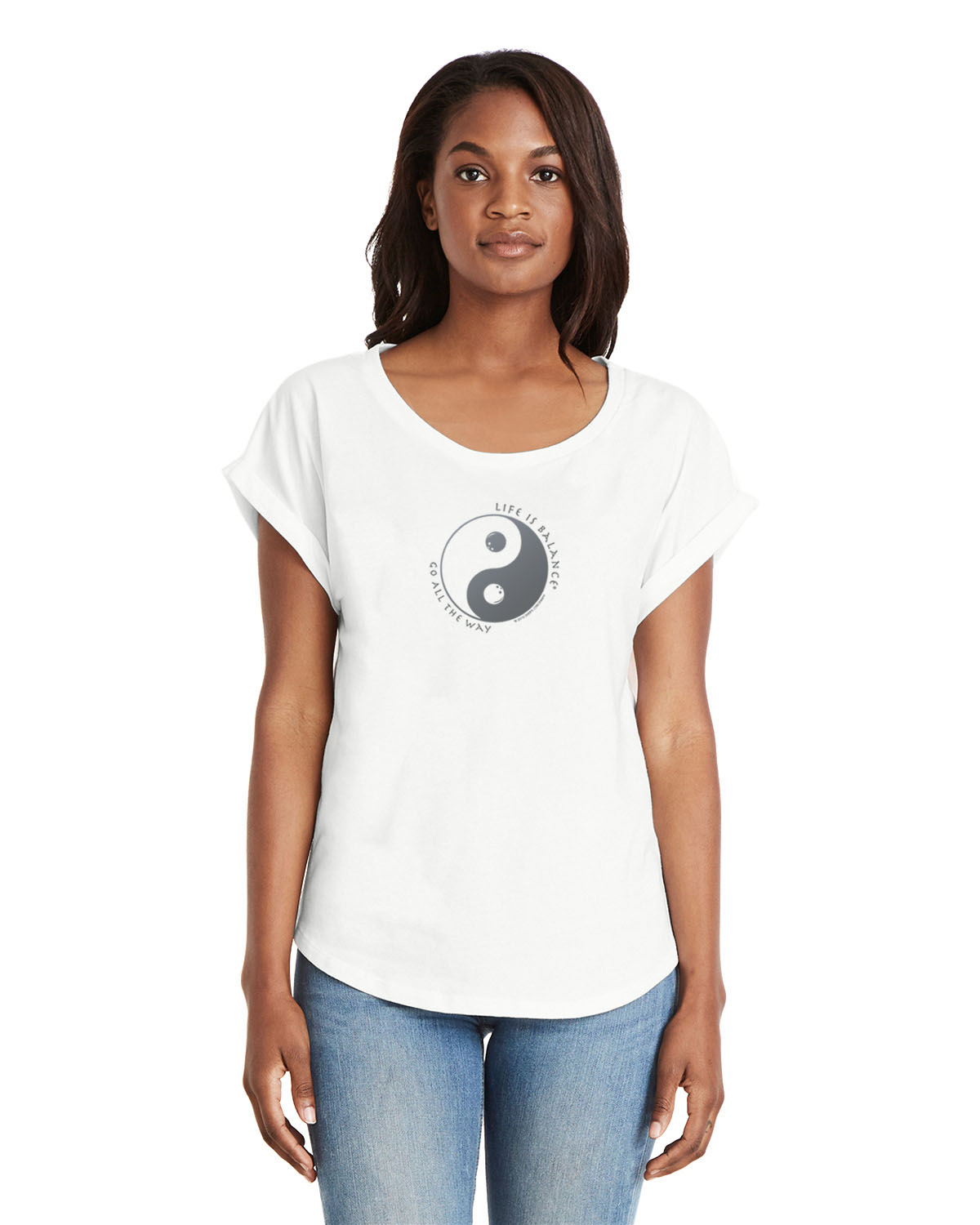 Women's rolled dolman sleeve (white)