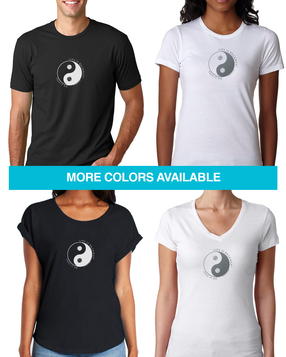Short sleeve volleyball t-shirts for Men and Women. Women's fitted styles and a unisex style for men and women