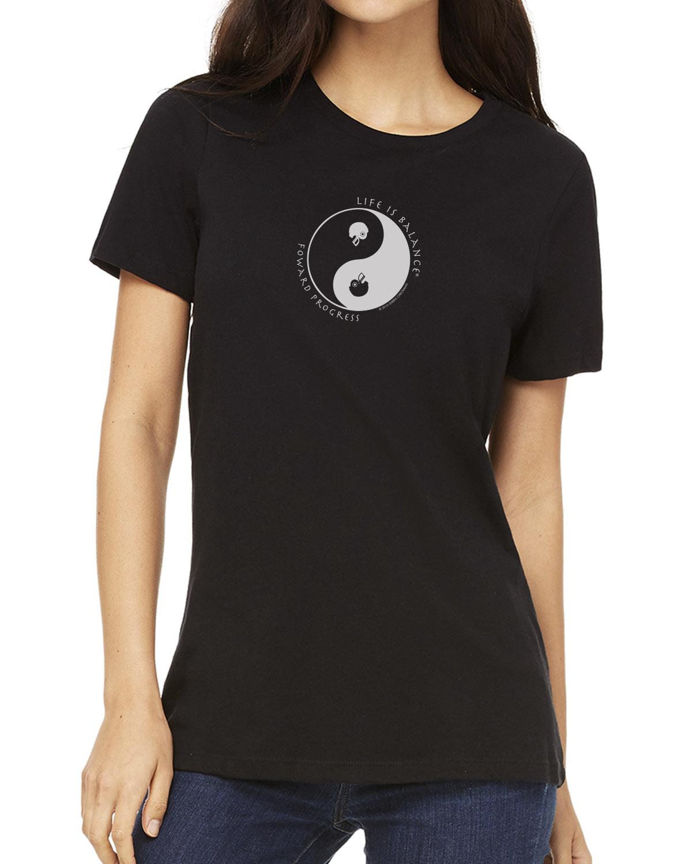 Women's short sleeve football crew neck (black)