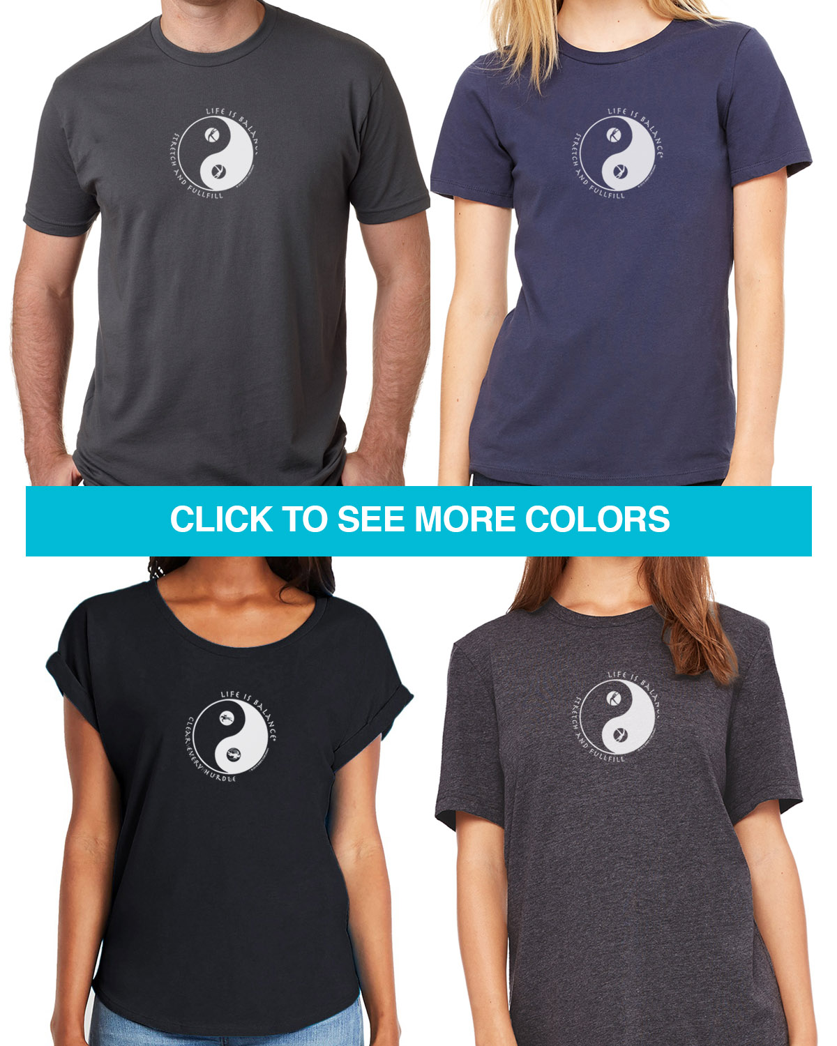 Exercise & Fitness short sleeve T-shirts for Men and Women. Women's fitted styles and a unisex style for men and women