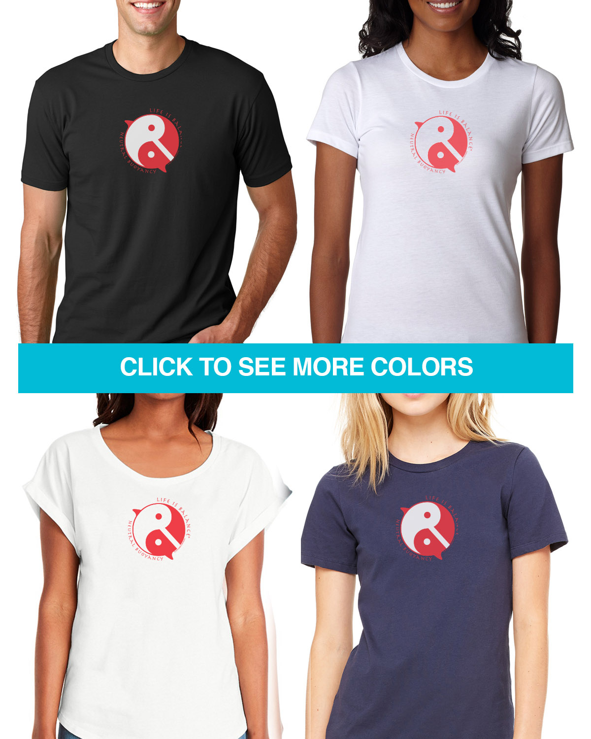 Short sleeve scuba diving T-shirts for Men and Women. Women's fitted styles and a unisex style for men and women