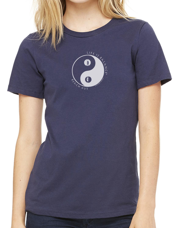 Women's short sleeve crew neck trapeze t-shirt (navy)