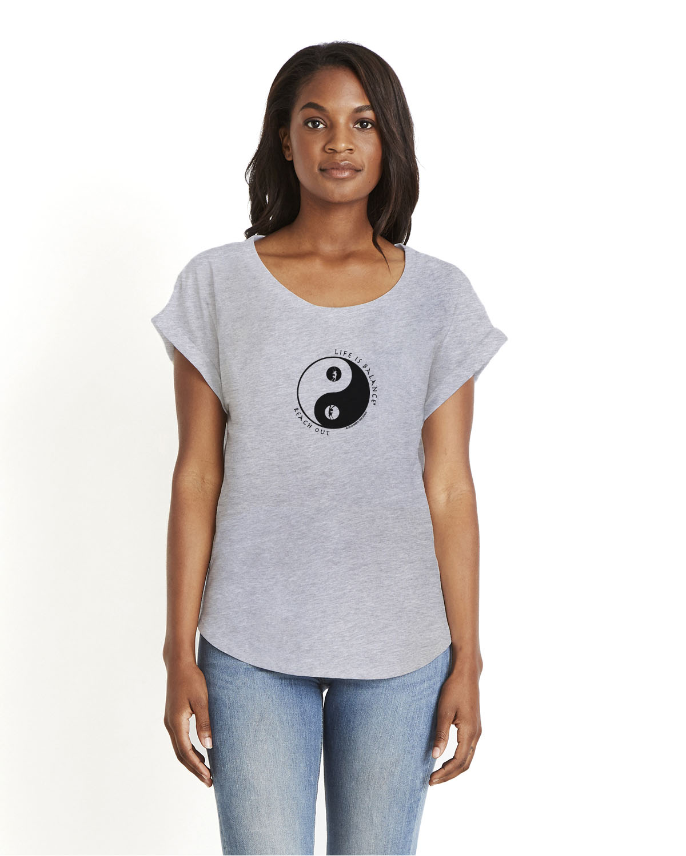 Women's rolled sleeve dolman t-shirt (gray)