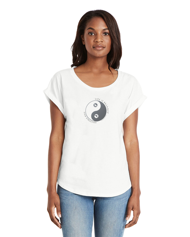 Women's rolled sleeve dolman shirt (white)