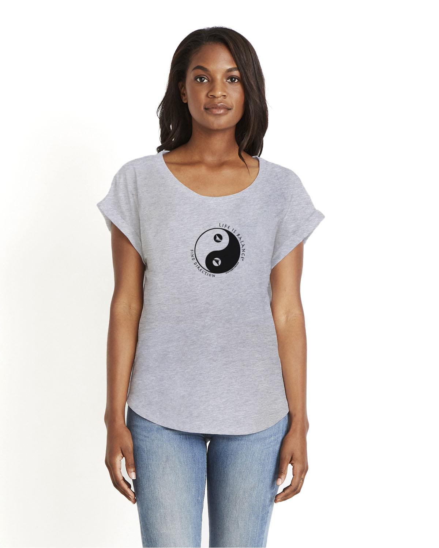 Women's rolled sleeve dolman shirt (gray)