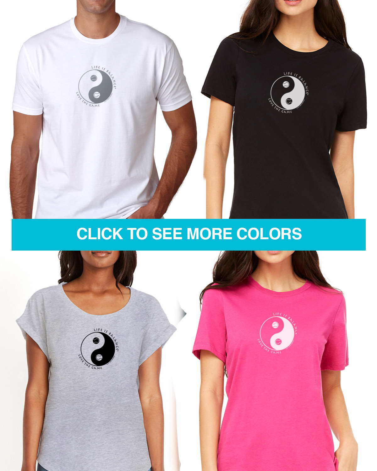 Short sleeve tennis t-shirts for Men and Women. Women's fitted styles and a unisex style for men and women