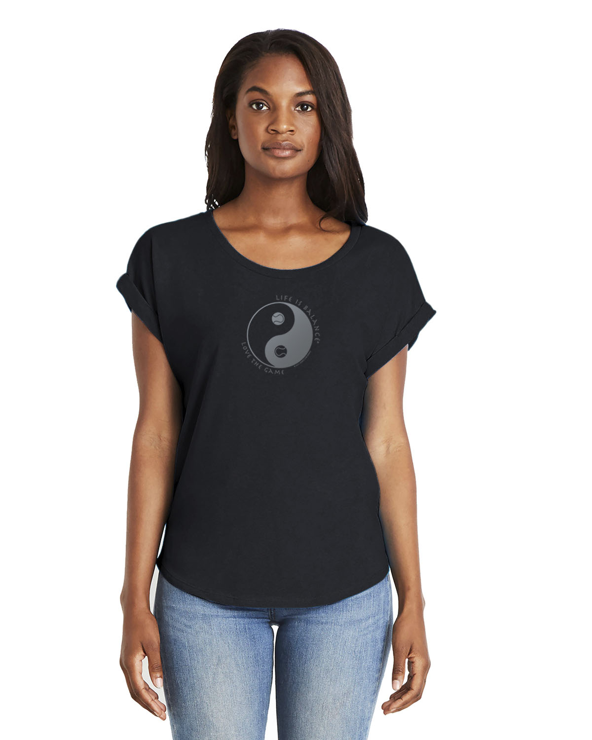 Women's rolled sleeve dolman shirt (black)