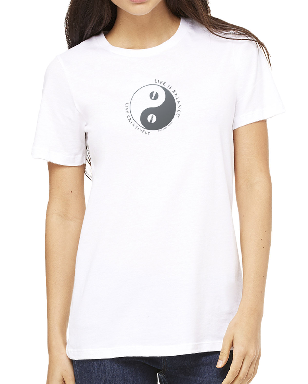 Short sleeve women's crew neck t-shirt (white)