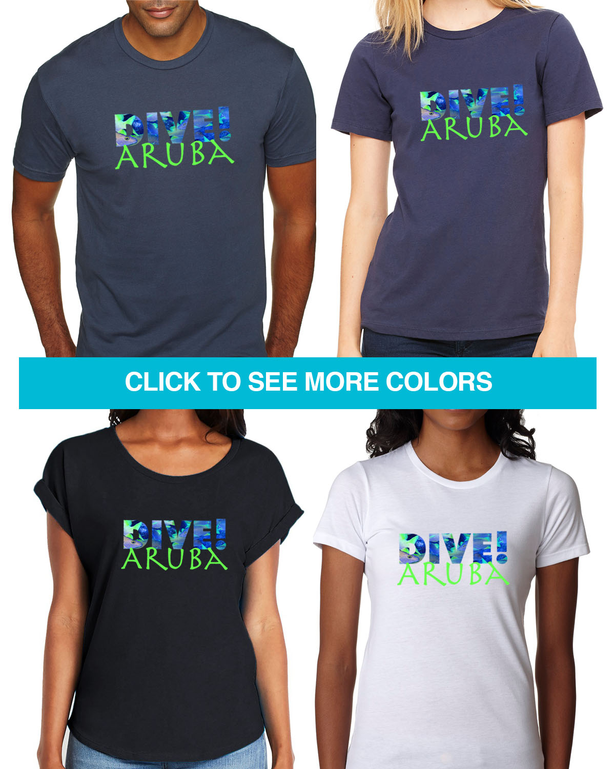 Short sleeve Dive Aruba t-shirt for men and women