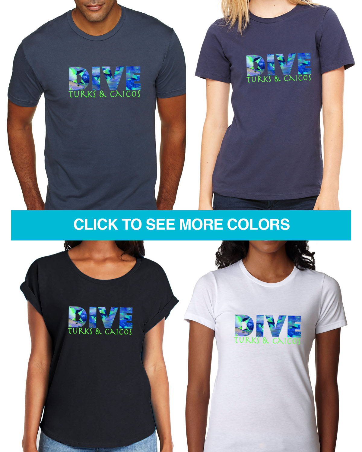 Short sleeve Dive Turks & Caicos t-shirt for men and women
