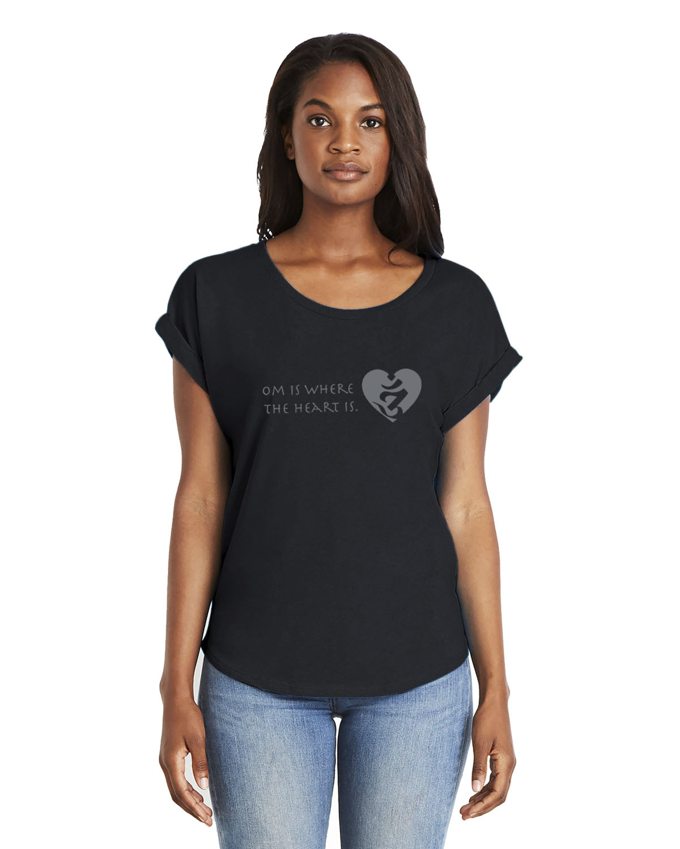 Women's short sleeve dolman Om is where the Heart is t-shirt (black)