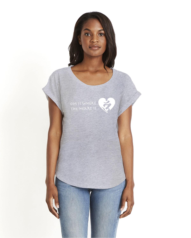 Women's short sleeve dolman Om is where the Heart is t-shirt (gray)