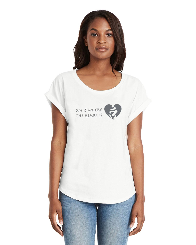 Women's short sleeve dolman Om is where the Heart is t-shirt (white)