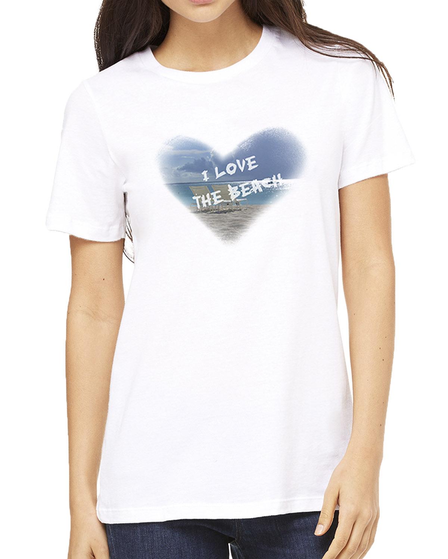 Women's short sleeve I Love the Beach T-shirt (White)