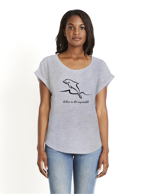 Dolman sleeve dolphin t-shirt (gray)