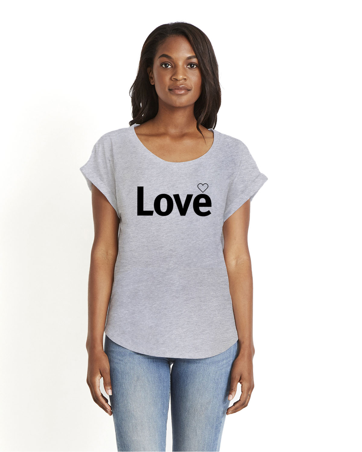 Love Dolman Sleeve T-shirt for women (gray)