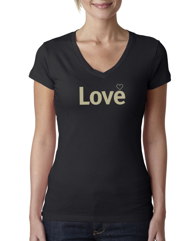 Short sleeve v-neck Love T-shirt for women (black)
