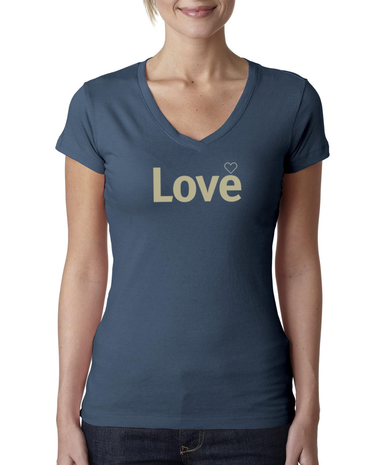 Short sleeve v-neck Love T-shirt for women (indigo)