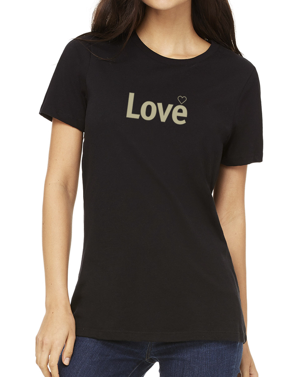 Short sleeve Love T-shirt for women (black)