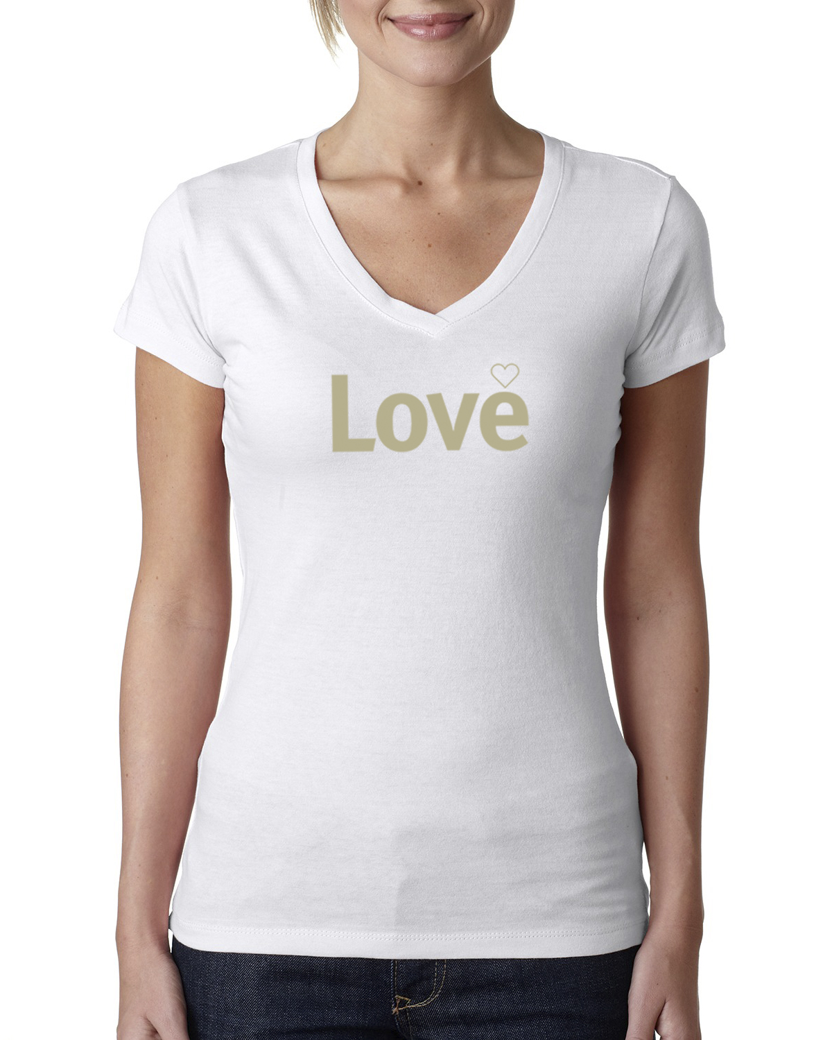Short sleeve v-neck Love T-shirt for women (white)