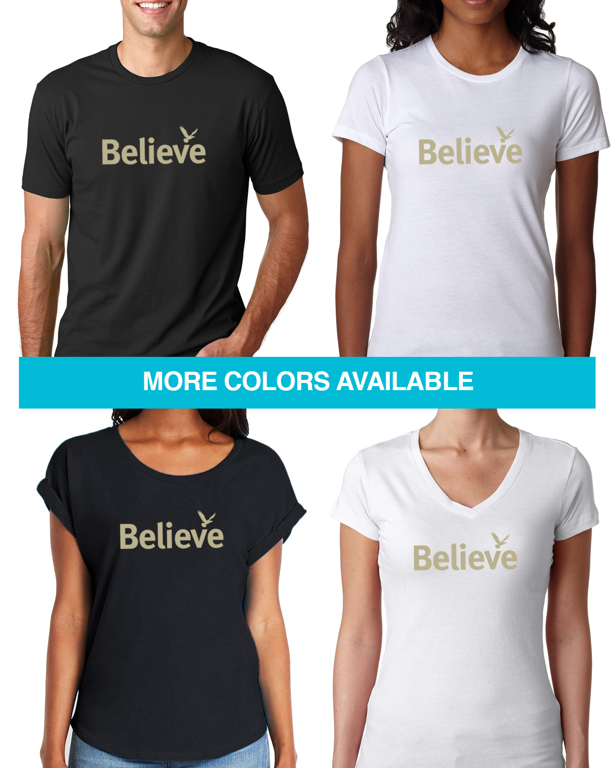 Short sleeve inspirational word ' believe' t-shirt for men and women