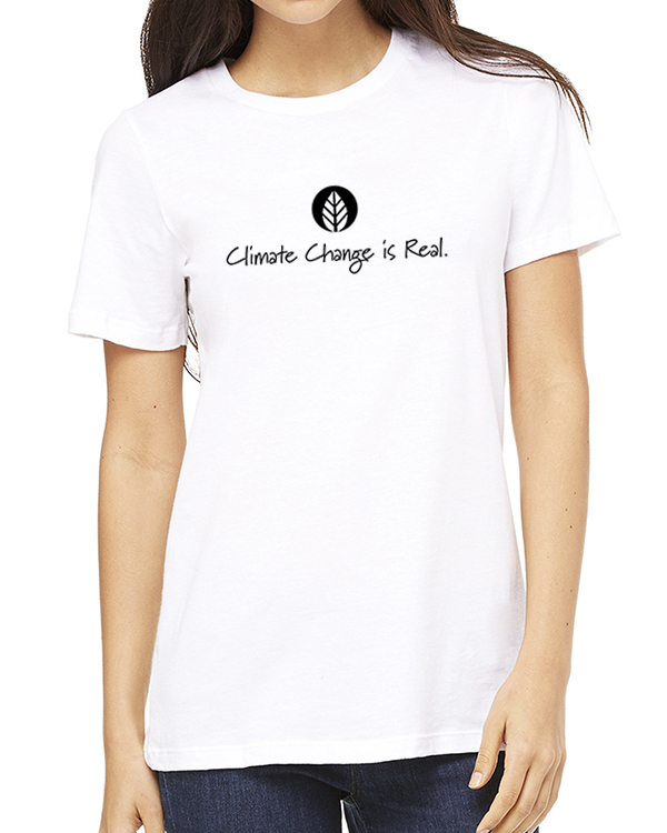 Women's short sleeve Climate Change is Real crew neck (white)