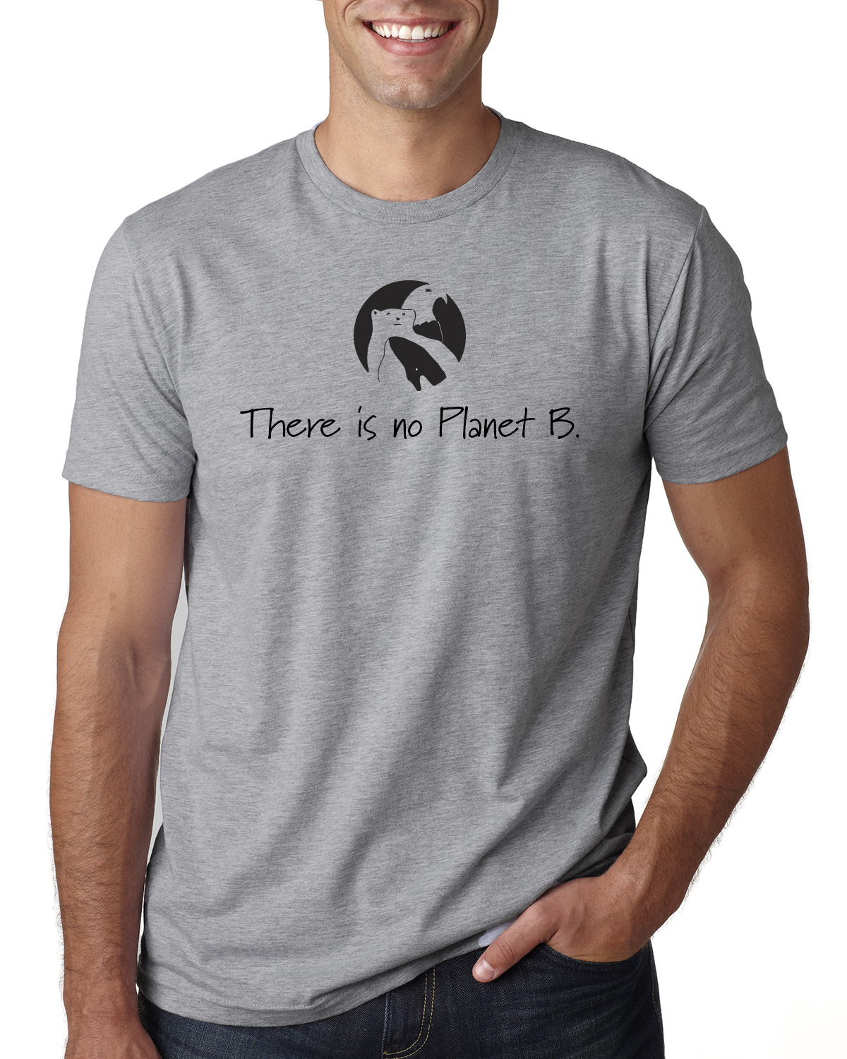 There is No Planet B Short sleeve t-shirt for men/unisex (Heather Gray)