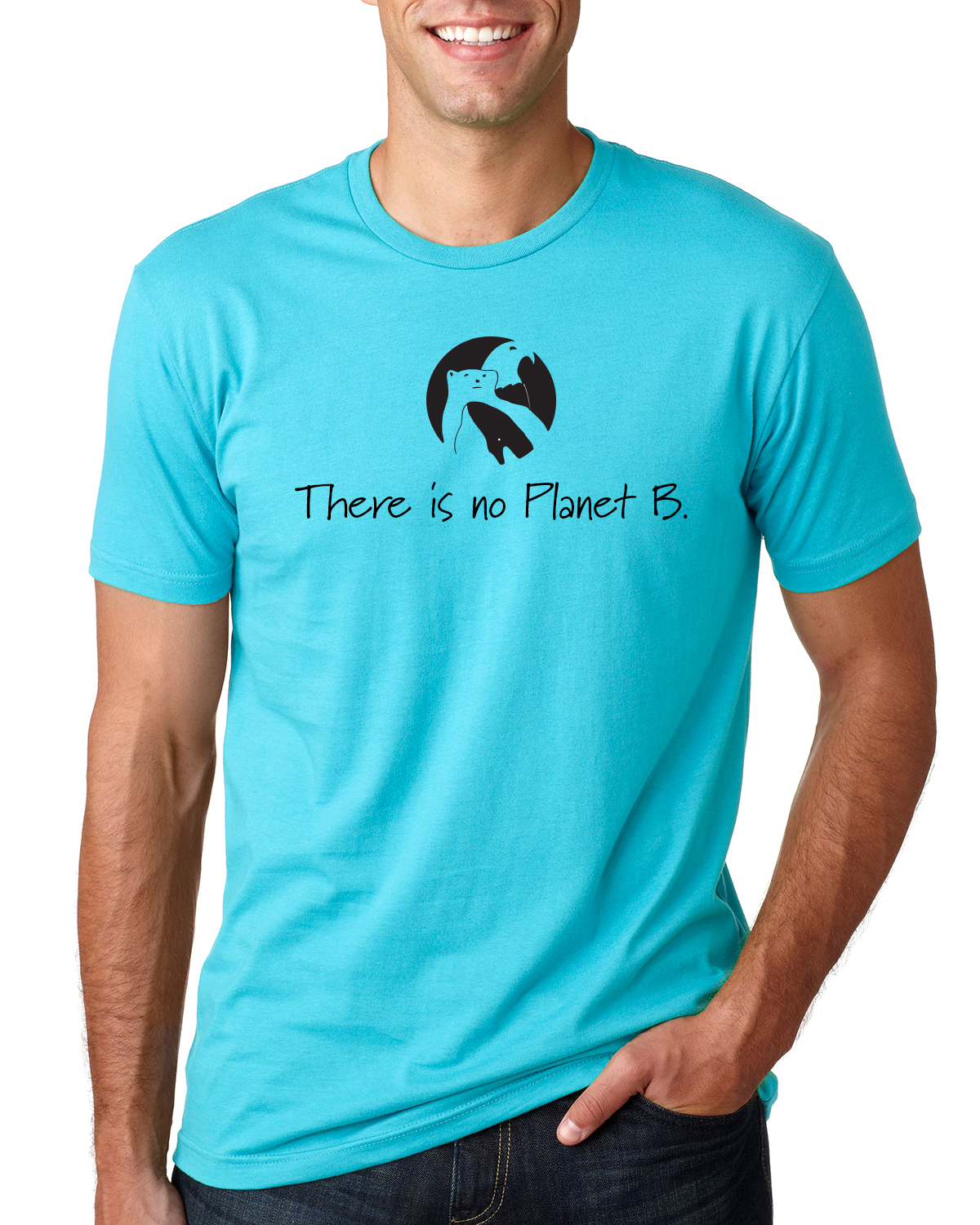 There is No Planet B Short sleeve t-shirt for men/unisex (Tahiti Blue)