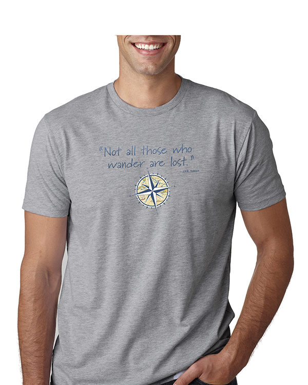 Not all those who wander are lost mens gray t-shirt