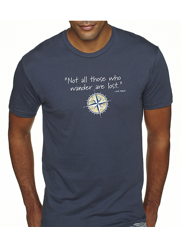 Men's short sleeve Not all those who wander are lost t-shirt (indigo)