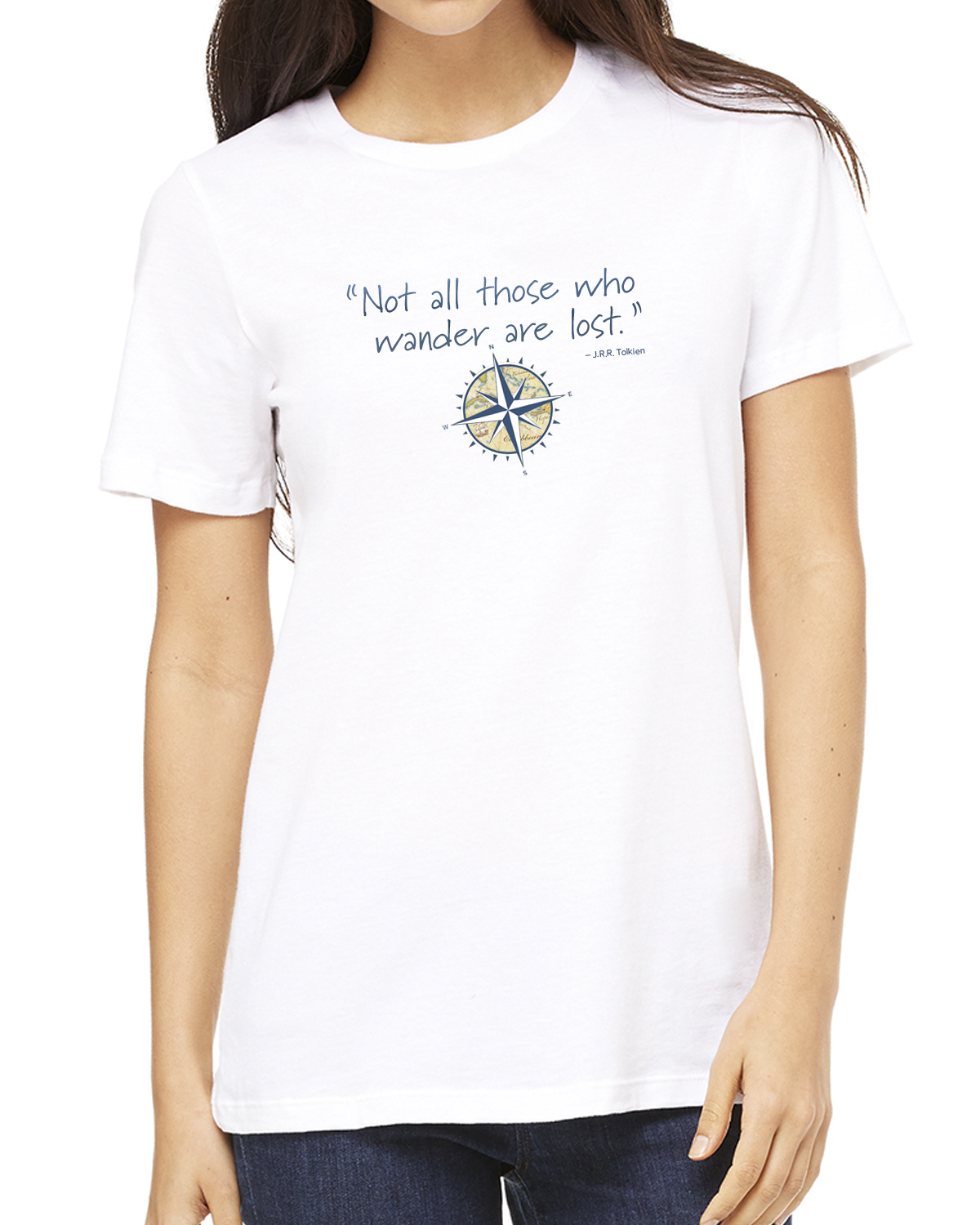 Women's short sleeve Not all those who wander crew neck (white)