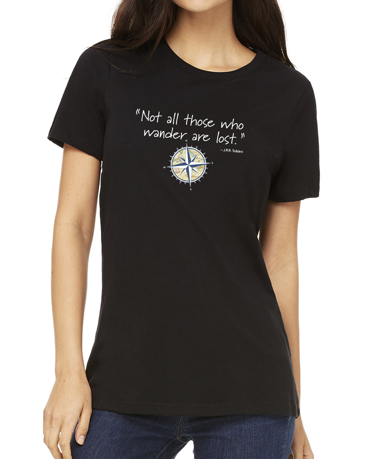 Women's short sleeve Not all those who wander crew neck (black)