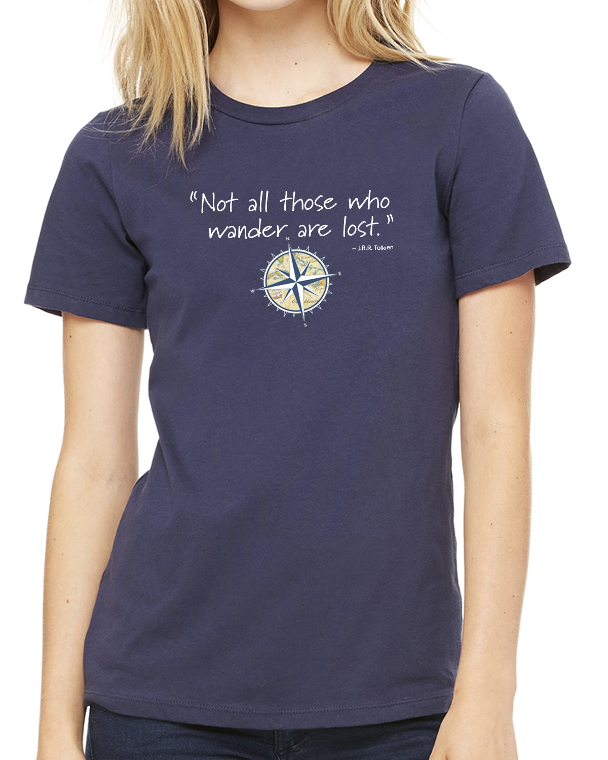 Women's short sleeve Not all those who wander crew neck (navy)