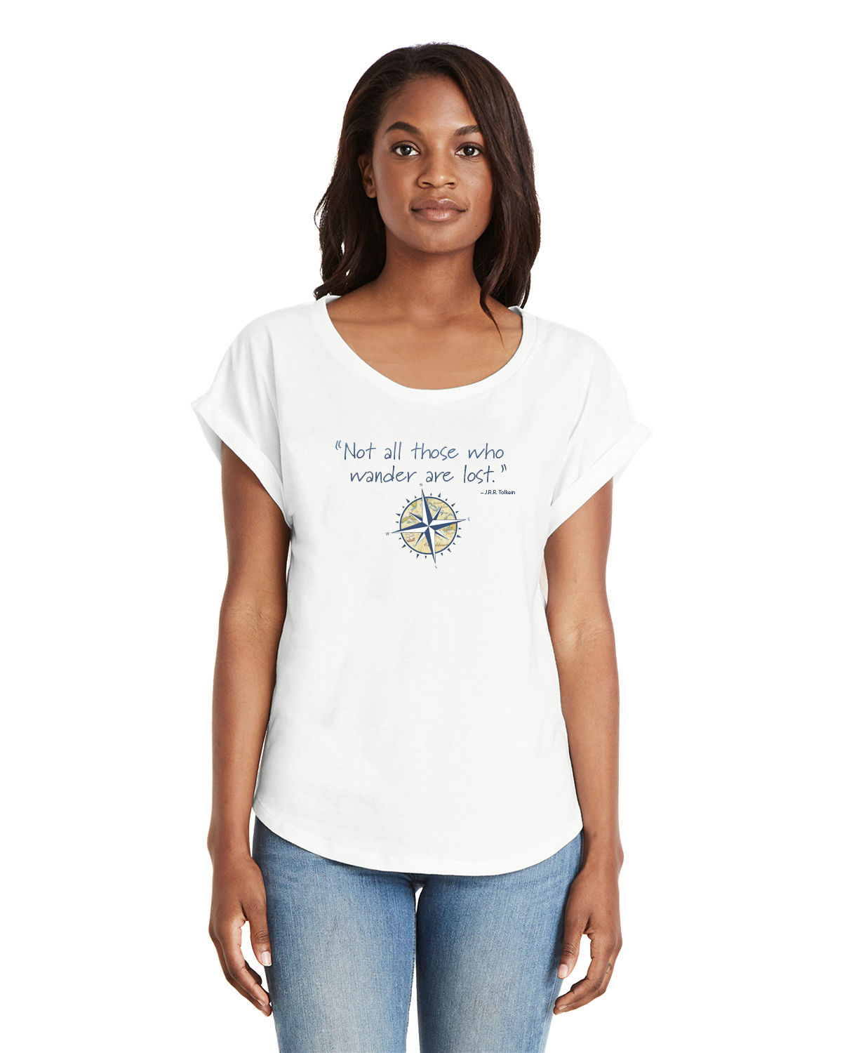 Not all those who wander are lost women's white Dolman sleeve t-shirt