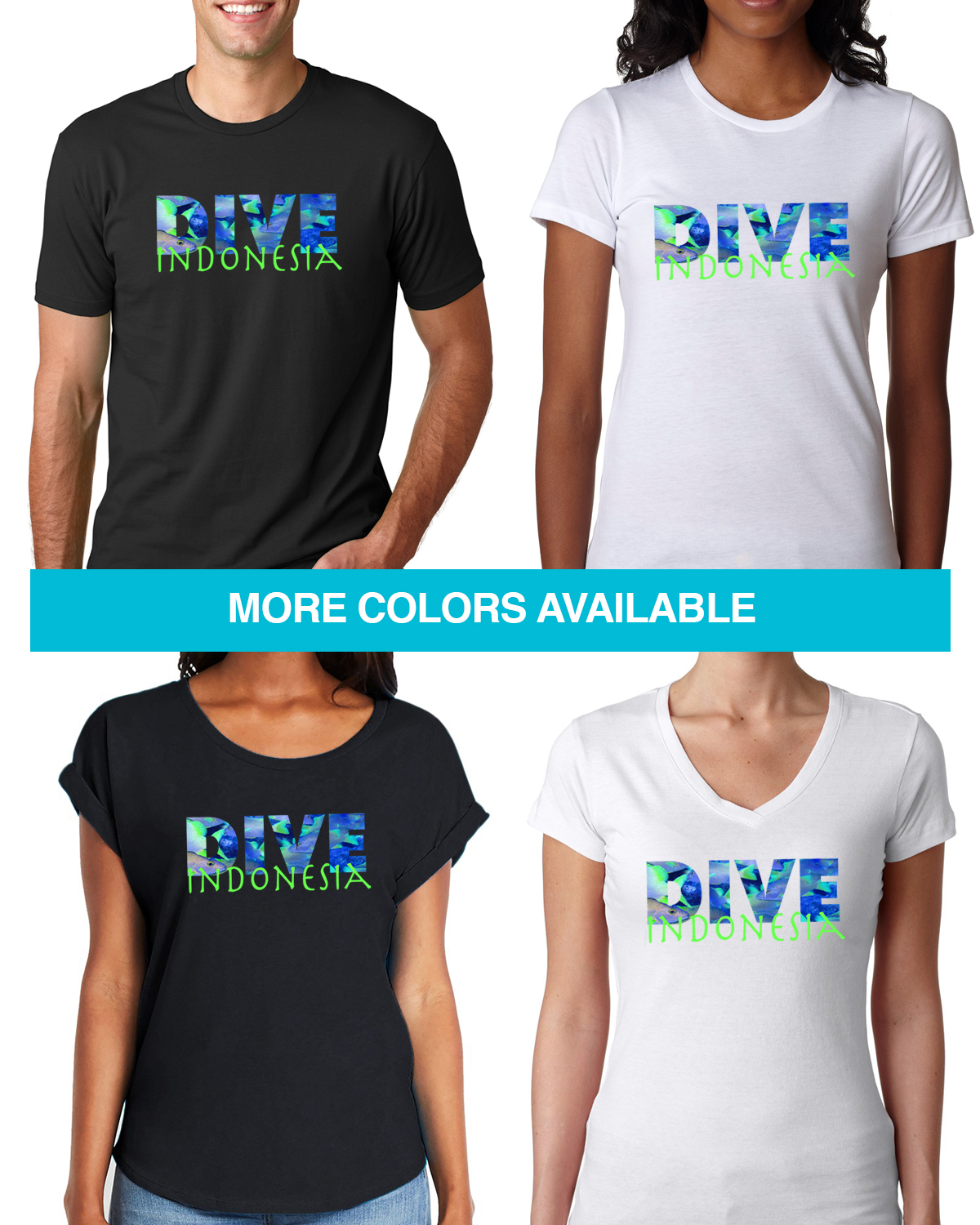 Short sleeve Dive Indonesia t-shirt for men and women
