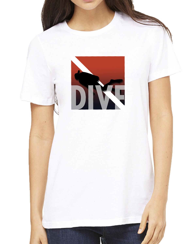Women's short sleeve crew neck scuba diving t-shirt (white)