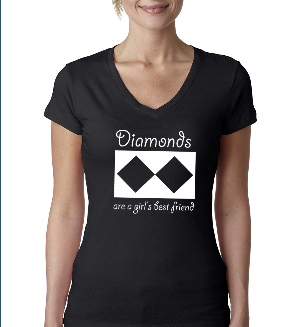 Women's Short Sleeve V-neck T-Shirt (Black/White)