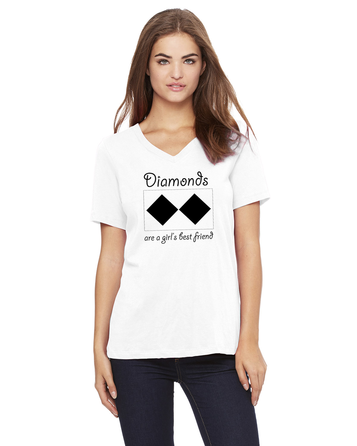 Women's Short Sleeve V-neck T-Shirt (White/Black)