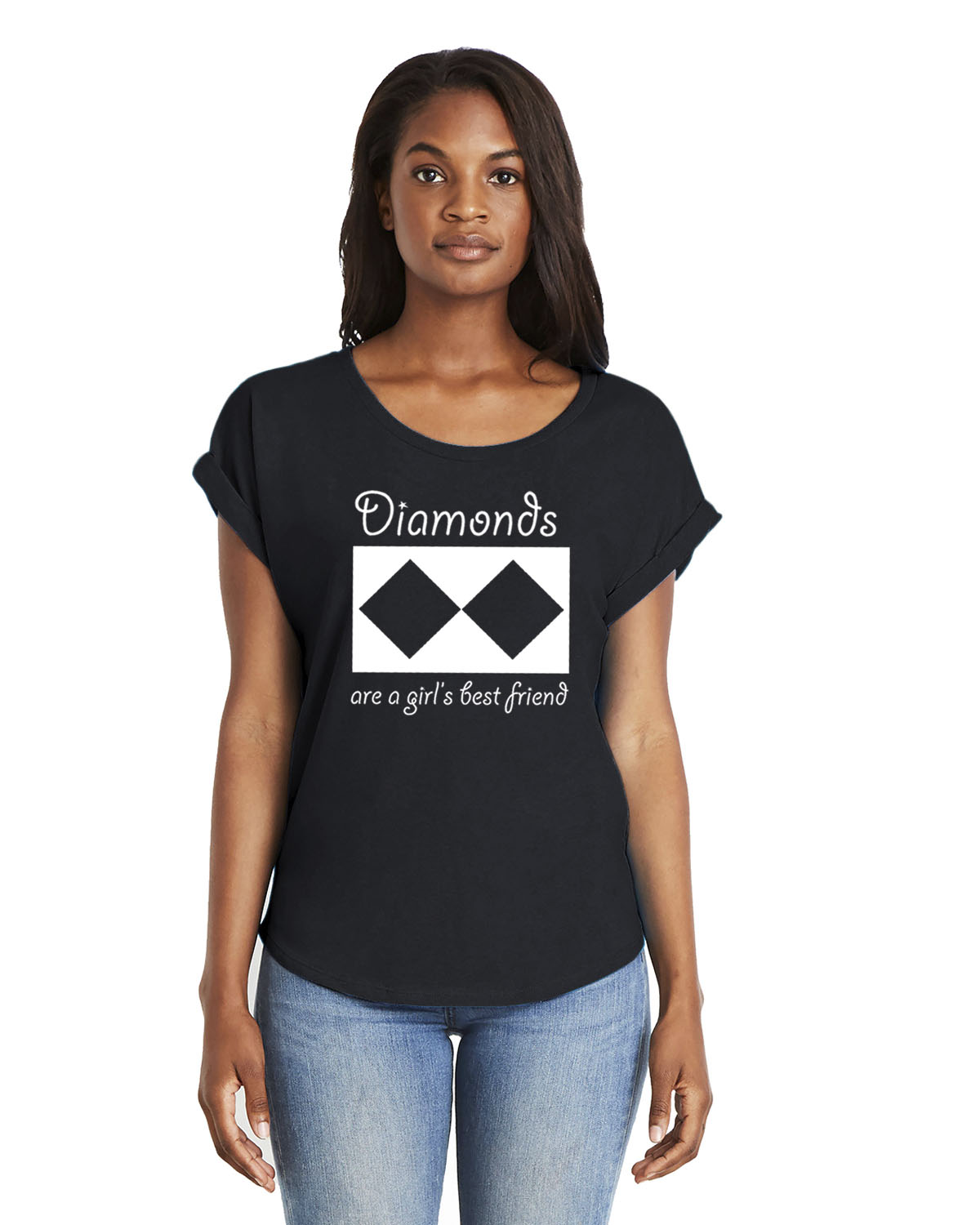 Women's Doleman Sleeve Diamonds Ski T-shirt (black)