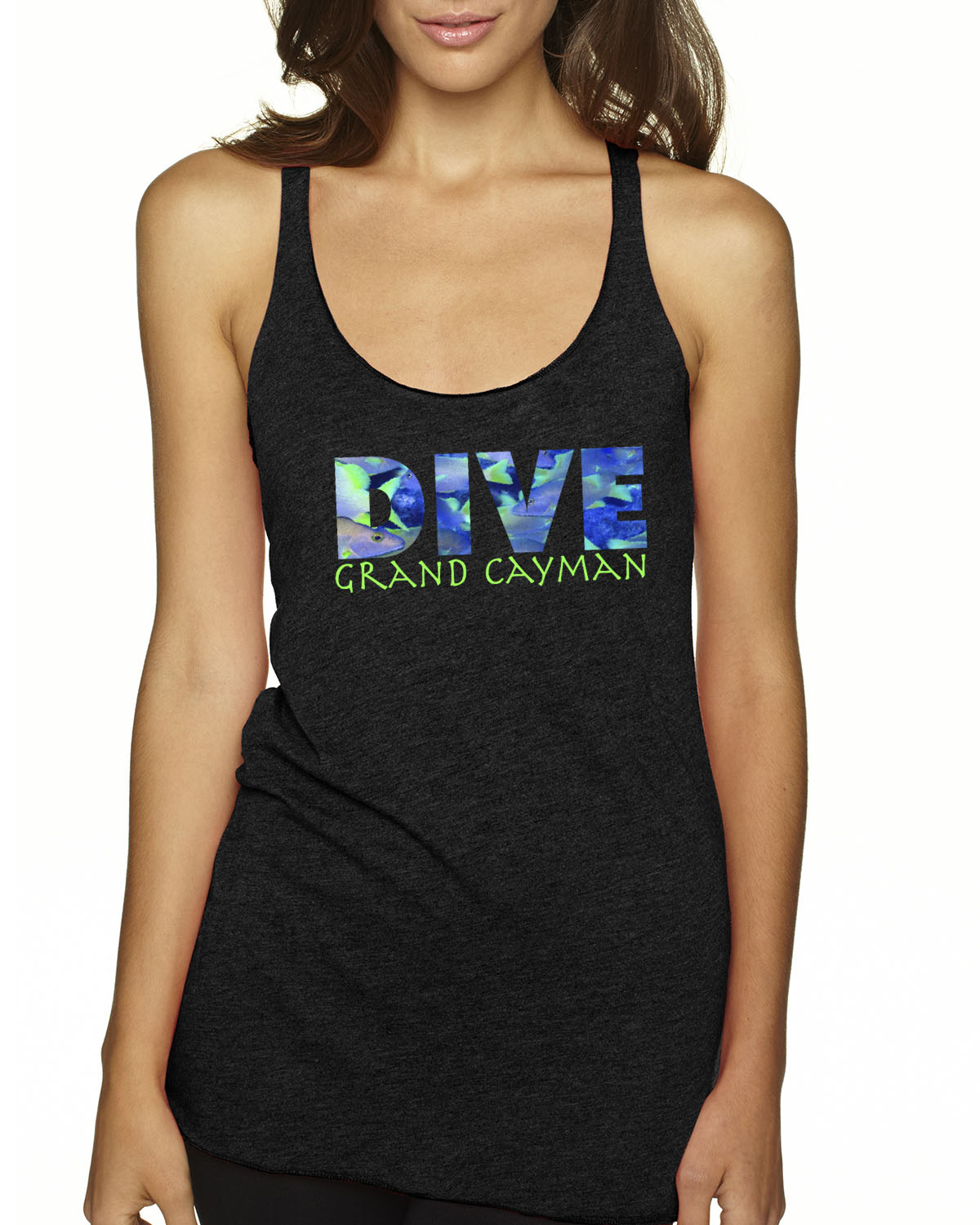 Women's Tri-blend racer-back DIVE scuba diving tank top (Vintage Black)