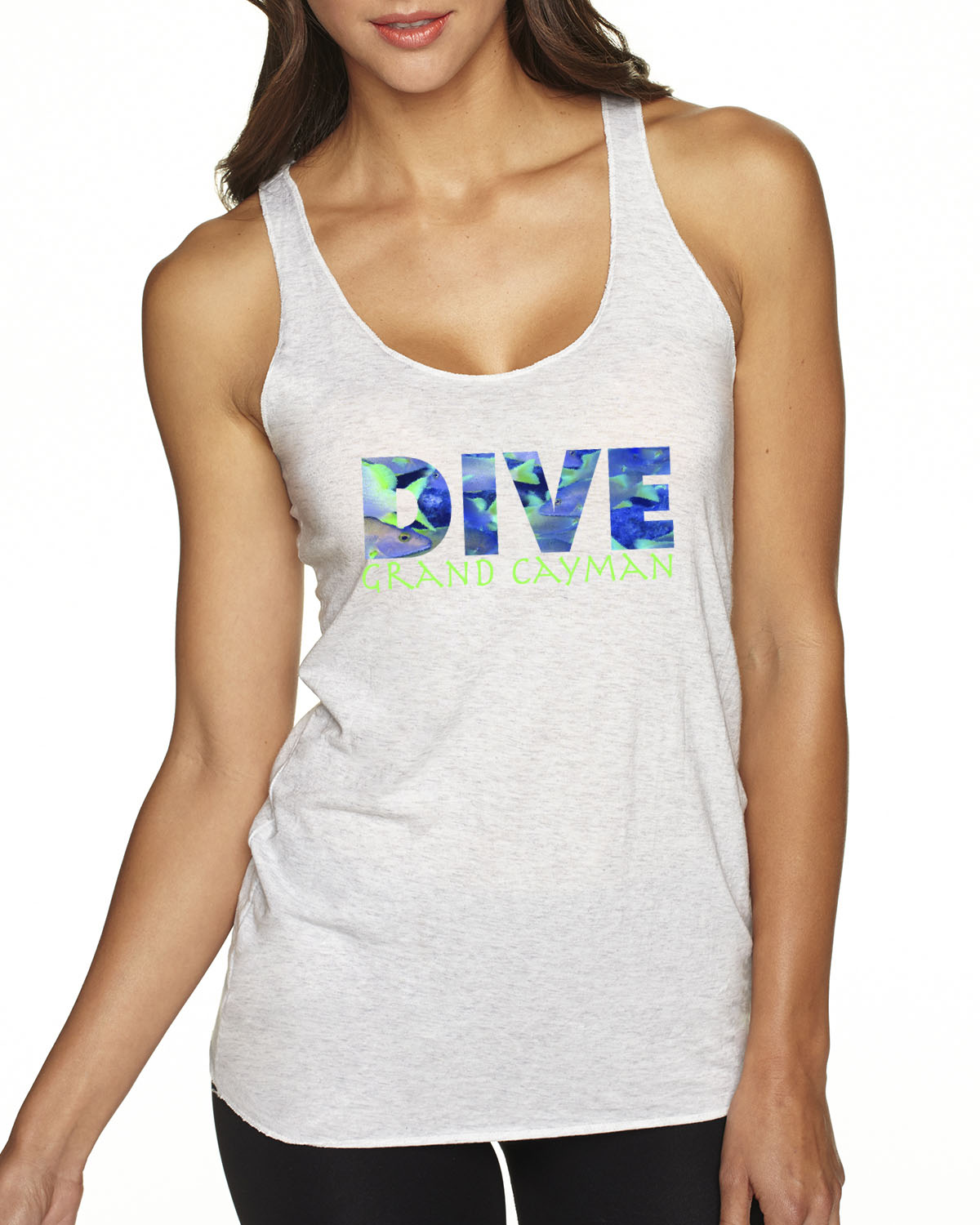 Women's Tri-blend racer-back DIVE scuba diving tank top (Heather White)