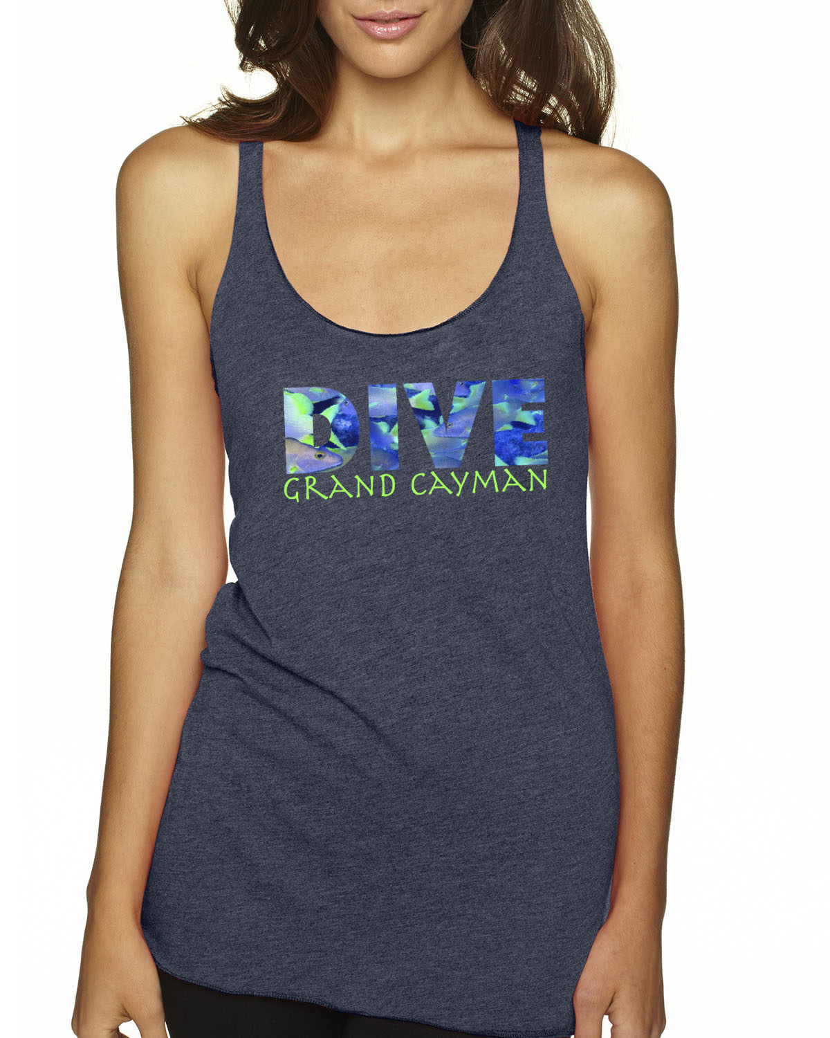Women's Tri-blend racer-back DIVE scuba diving tank top (Indigo)