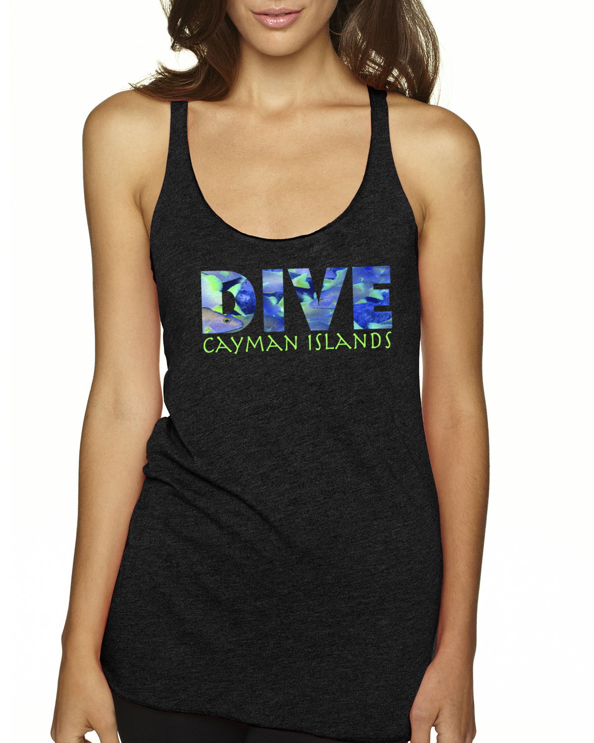 Racer-Back DIVE Cayman Islands Tank Top (Vintage Black)