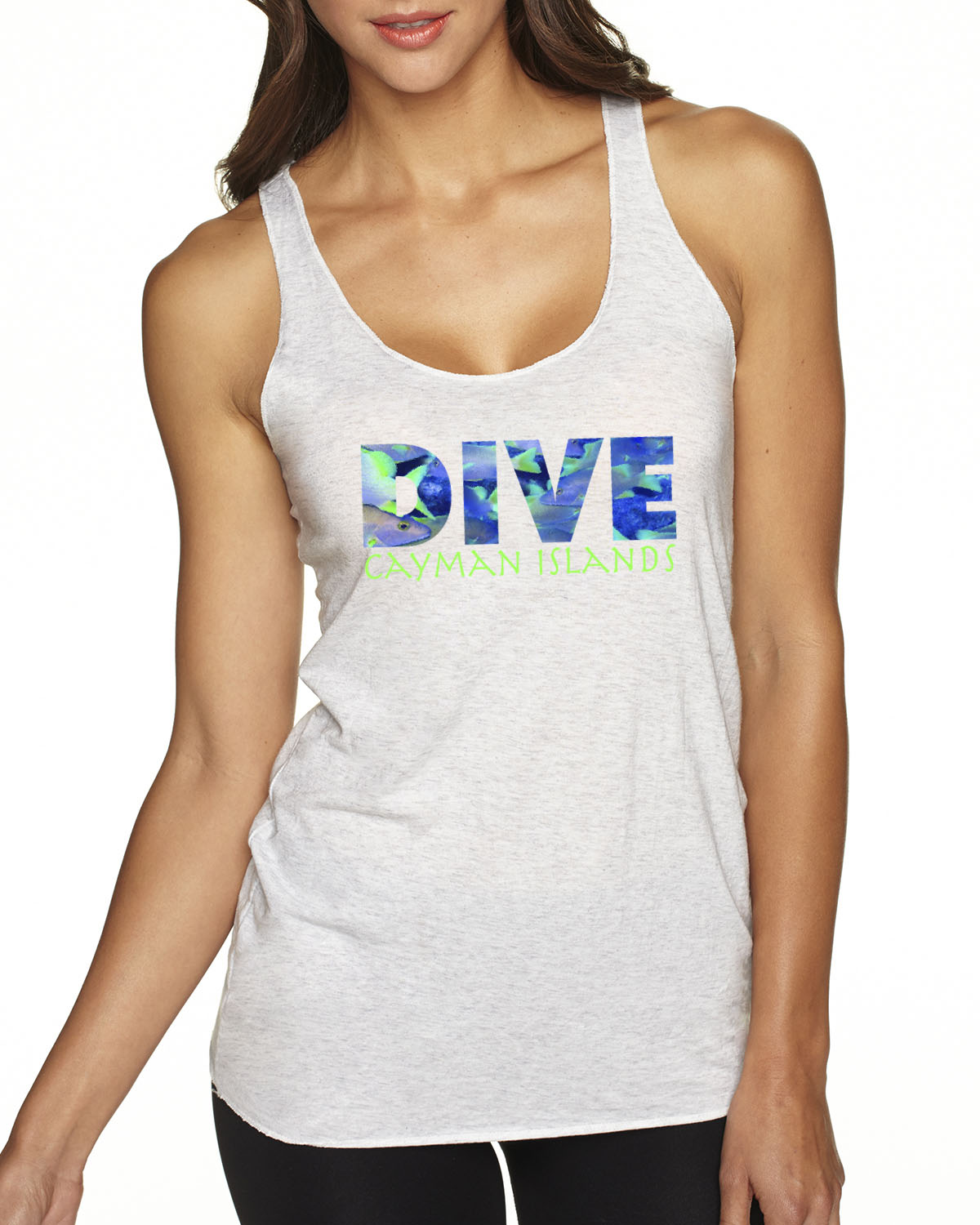 Racer-Back DIVE Cayman Islands Tank Top (Heather White)