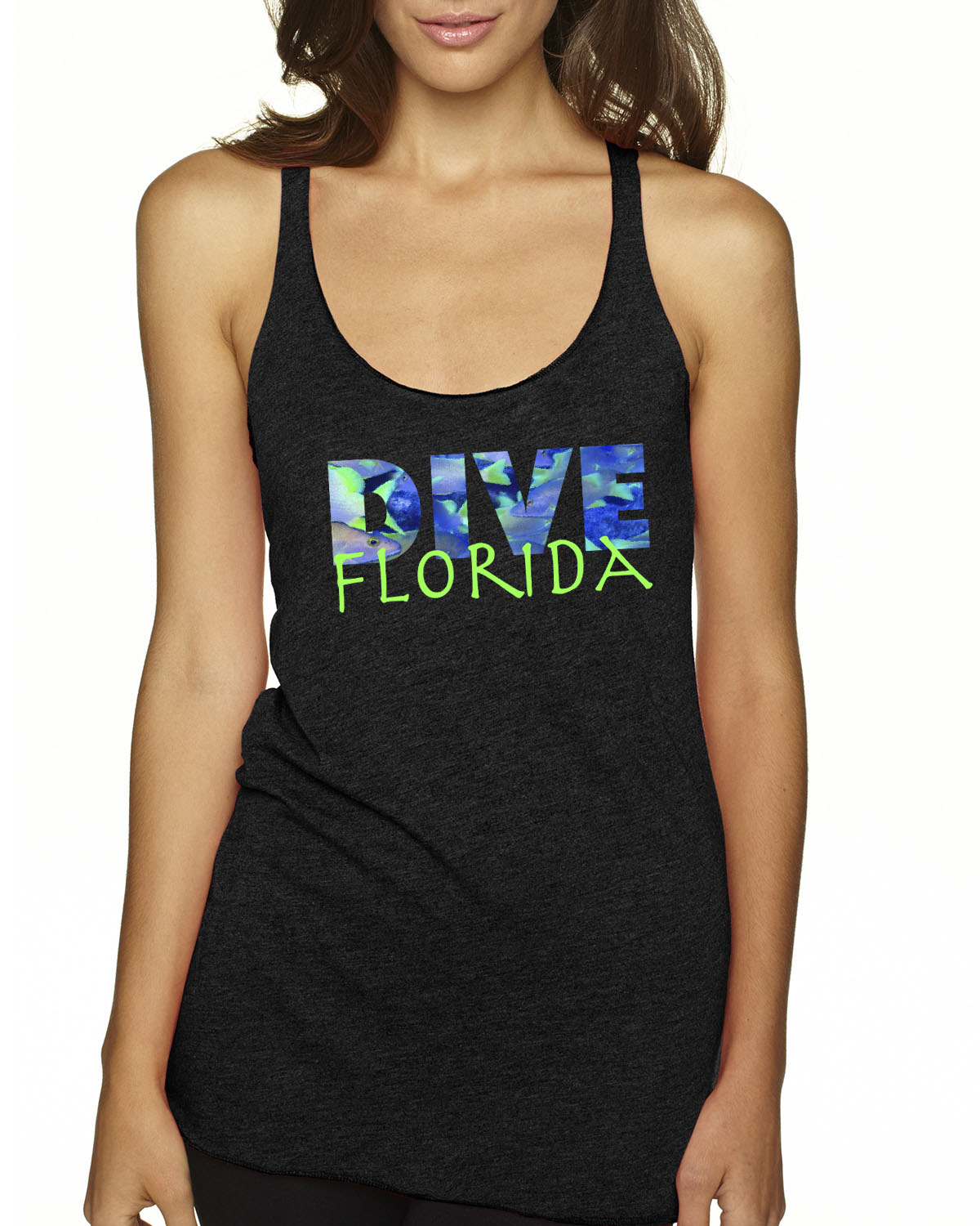 Racer-Back DIVE Florida Tank Top (Vintage Black)