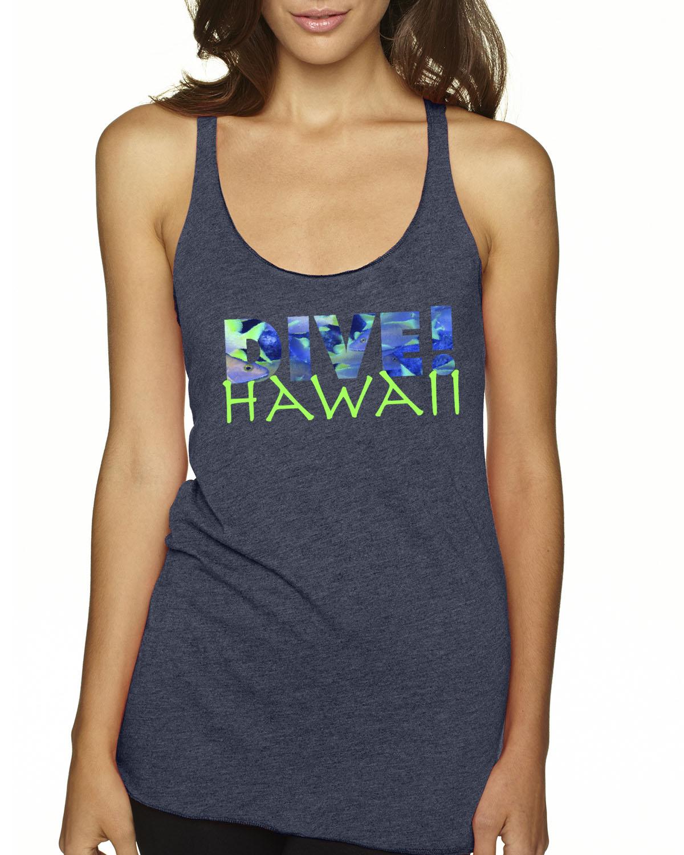 Racer-Back DIVE Hawaii Tank Top (Indigo)
